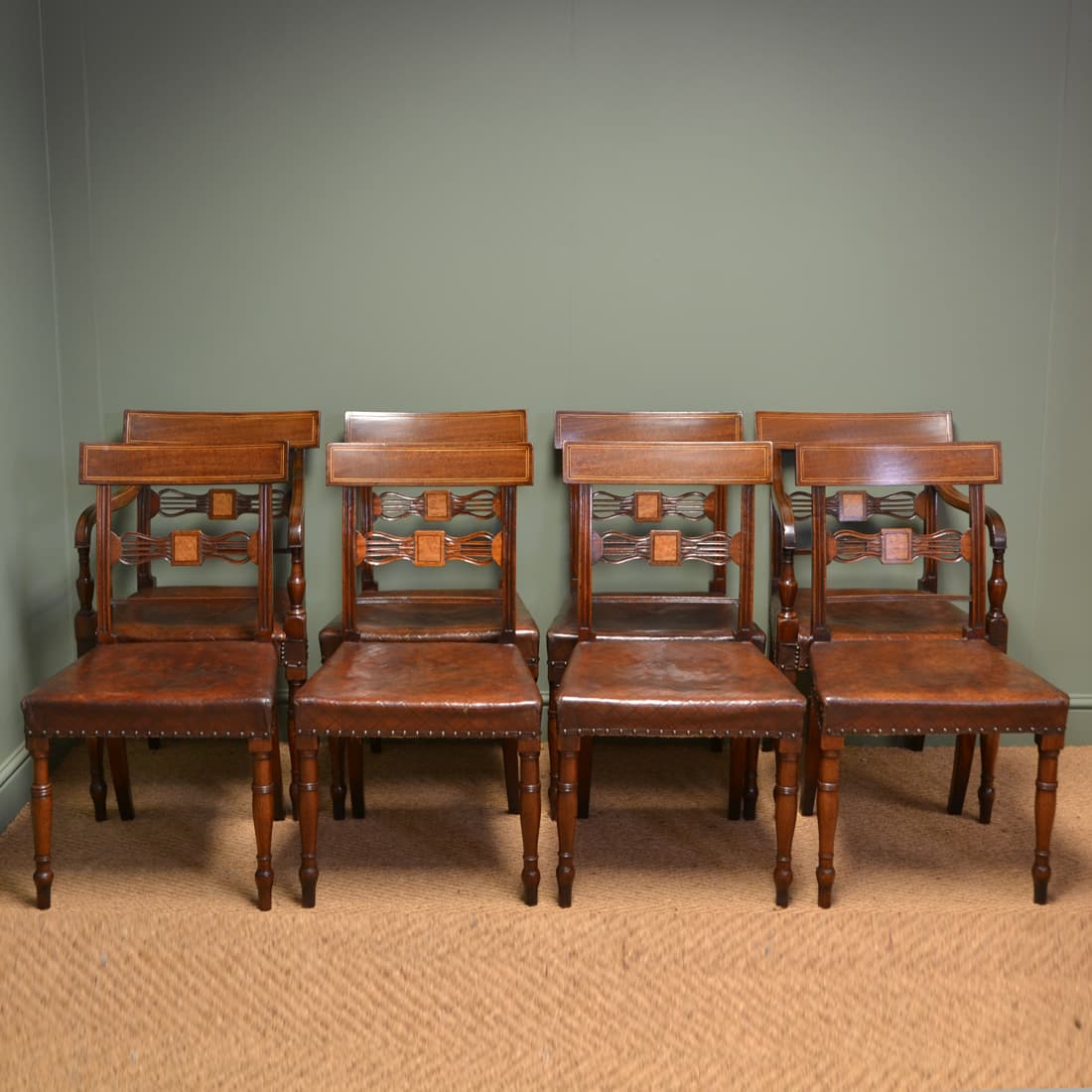 Striking Set Of Eight Regency Antique Mahogany Dining Chairs Antiques World