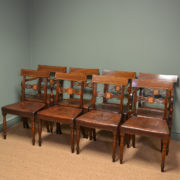 Striking Set of Eight Regency Antique Mahogany Dining Chairs
