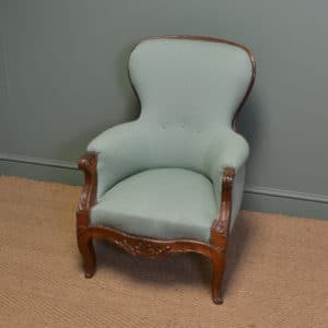 Beautiful Antique French Upholstered Walnut Armchair