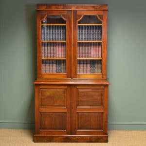 Antique Mahogany Victorian Bookcase on Cupboard