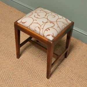 Small Georgian Mahogany Antique Upholstered Stool