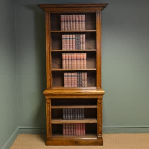 Unusual Tall Victorian Oak Antique Open Bookcase
