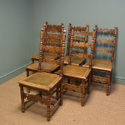 Stunning Set Of Six Country Fruitwood Antique Farmhouse Chairs