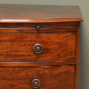 Spectacular Small Bow Fronted Antique Regency Chest Of Drawers with Brushing Slide