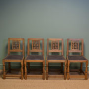 Set Of Four Oak Mouseman Antique Dining Chairs