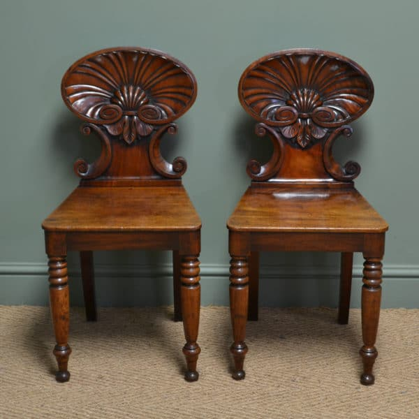 Spectacular Gillows Design Early Victorian Shell Carved Pair of Antique Mahogany Hall Chairs