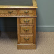 Spectacular Golden Oak Victorian Antique Pedestal Desk