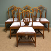 Elegant Mellow Mahogany Edwardian Hepplewhite Design Antique Dining Chairs