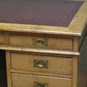 Large Edwardian Antique Pine Pedestal Desk