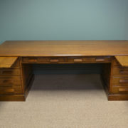 Huge Edwardian Oak Antique Pedestal Desk By Simpoles Of Manchester