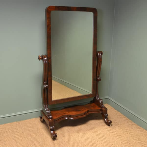 Stunning Victorian Full Length Mahogany Antique Cheval Mirror