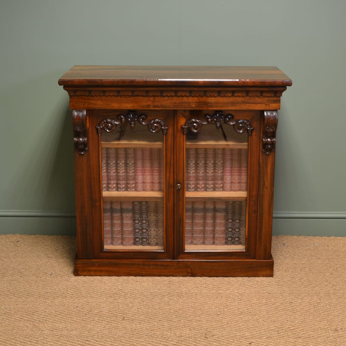 William IV Rosewood Antique Glazed Bookcase