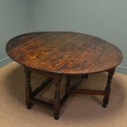 Large Early Eighteenth Century Drop Leaf Gate Leg Oak Dining Table
