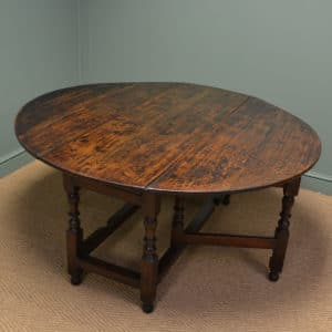 Large Early Eighteenth Century Drop Leaf Gate Leg Oak Dining Table
