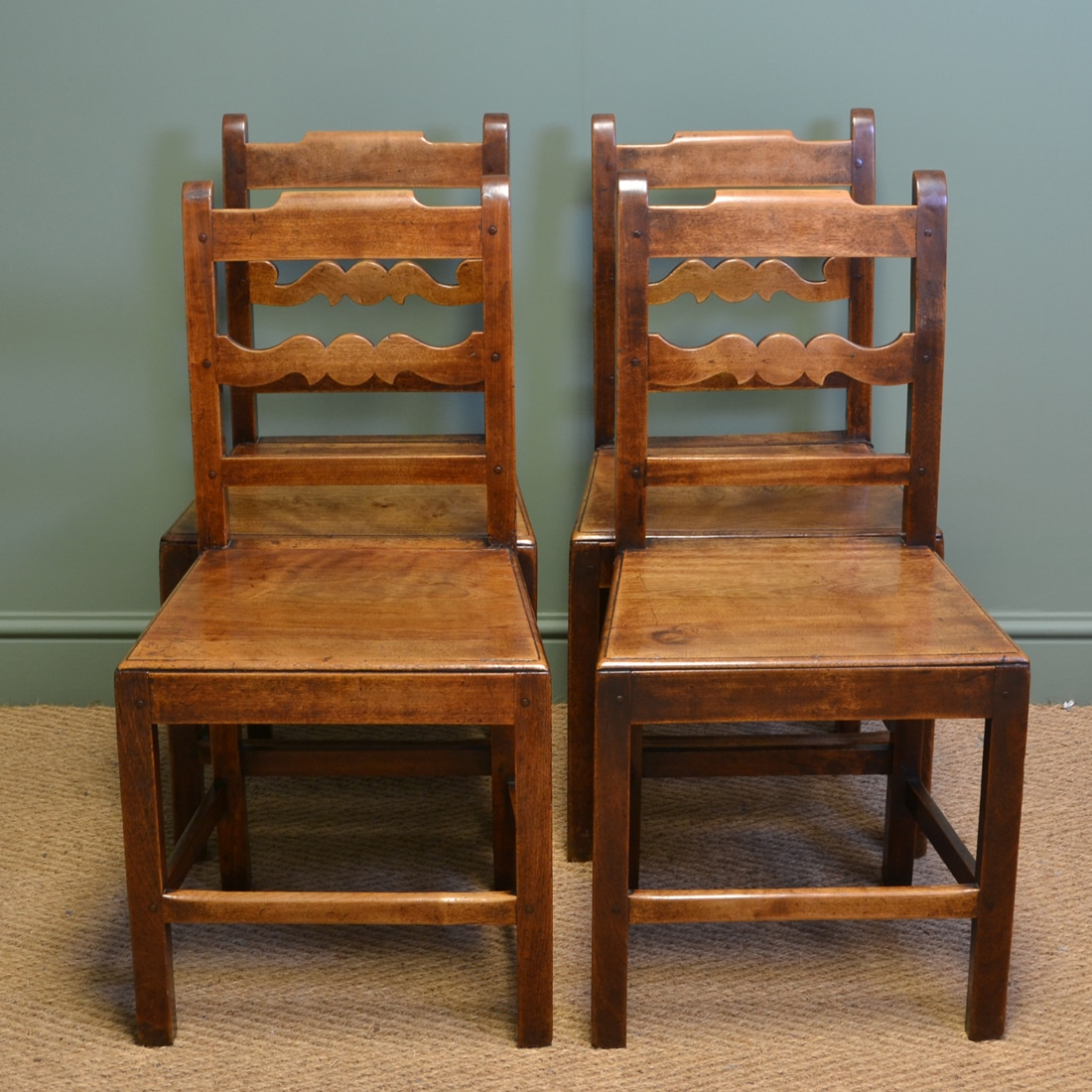 Chairs For The Kitchen: Set Of Four Country Farmhouse Georgian Antique Kitchen