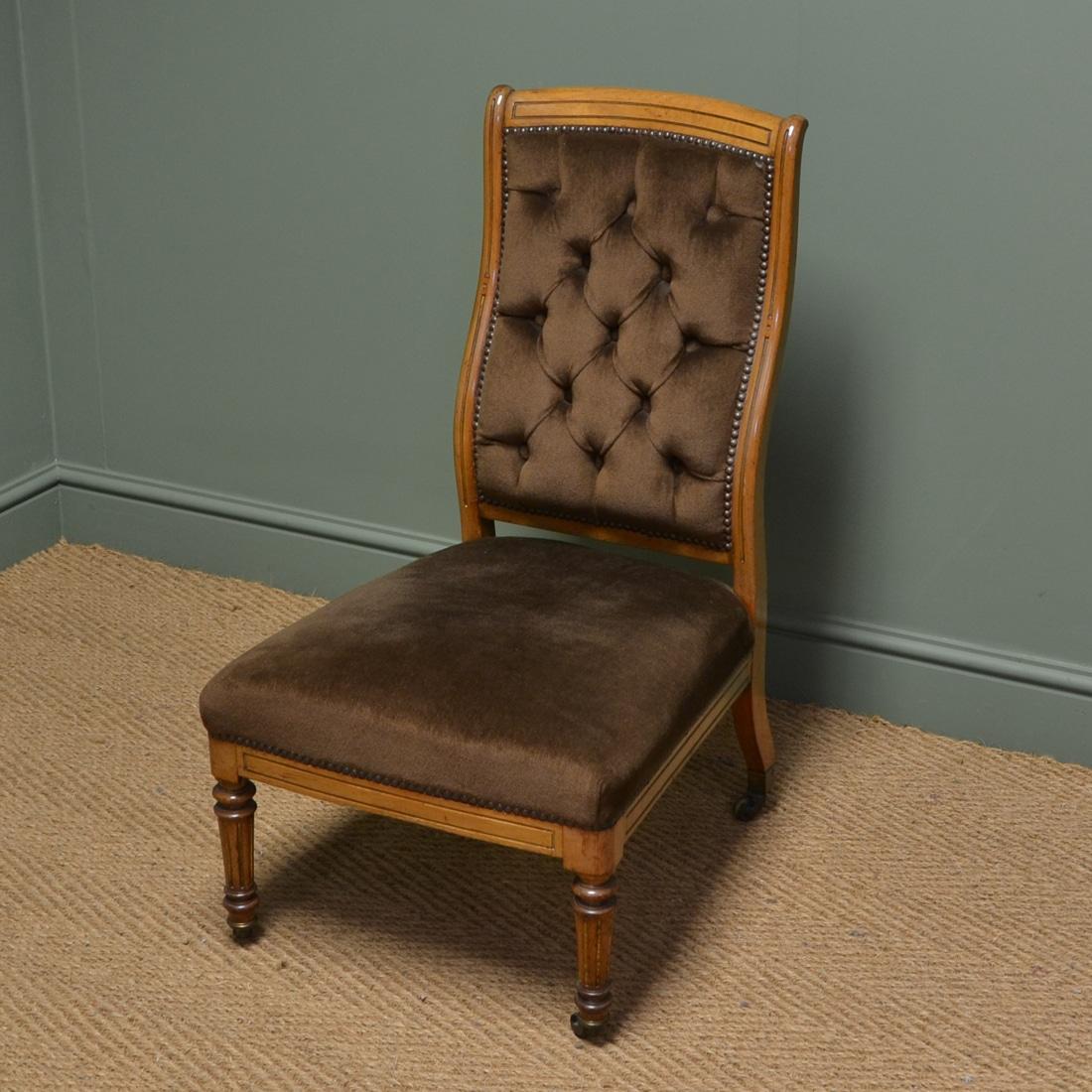 Quality Victorian Mahogany Antique Nursing Chair / Side Chair.