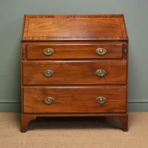 Delightful Georgian Mahogany Cross Banded Antique Bureau