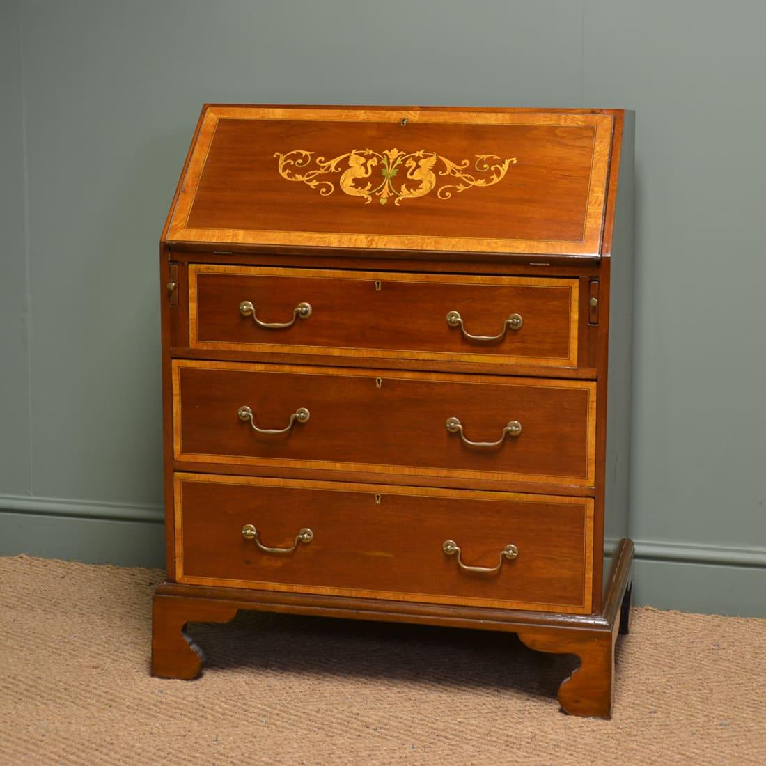 Edwardian Inlaid Mahogany Antique Desk / Bureau