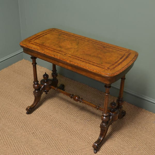 Spectacular Figured Walnut Antique Inlaid Card / Games Table
