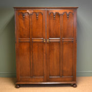 Quality Waring and Gillows Edwardian solid Oak Antique Double Wardrobe