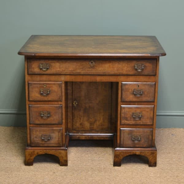 Magnificent Quality Burr Walnut Edwardian Antique Pedestal Desk