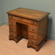 Magnificent Quality Burr Walnut Edwardian Antique Pedestal Desk