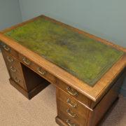 Superb Quality Figured Oak Victorian Antique Pedestal Desk