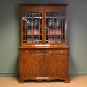 Exceptional Inlaid Edwardian Antique Glazed Bookcase On Cupboard