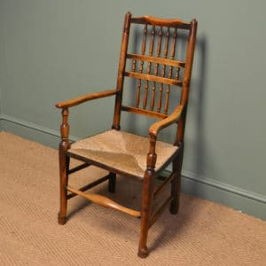 Eighteenth Century Oak and Elm Antique Lancashire Ladder Back Chair