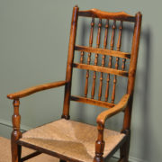 Eighteenth Century Oak and Elm Antique Lancashire Ladder Back Chair