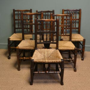 Harlequin Six Lancashire Spindle Back Antique Chairs