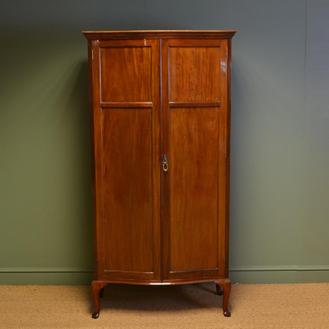 Spectacular Druce & Co Edwardian Antique Walnut Small Serpentine Wardrobe