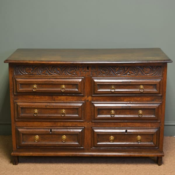Unusual Period Panelled Oak Antique Mule Chest Dated 1713
