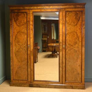Magnificent Victorian Burr Walnut Antique Triple Wardrobe of Large Proportions