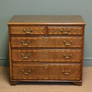 Unusual Small Period Oak Antique Georgian Chest Of Drawers