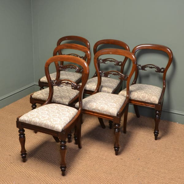 Fine Quality Set Of Six Victorian Mahogany Antique Balloon Back Chairs
