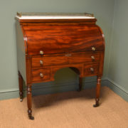 Spectacular Victorian Figured Mahogany Cylindrical Antique Desk