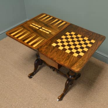 Spectacular Quality Figured Burr Walnut Tunbridge Inlaid Victorian Antique Games Table Work Box.