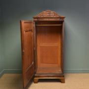 Unusual William IV Small Antique Figured Mahogany Wardrobe