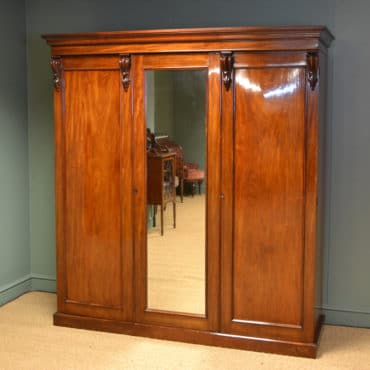 Spectacular Figured Mahogany William IV Antique Triple Wardrobe