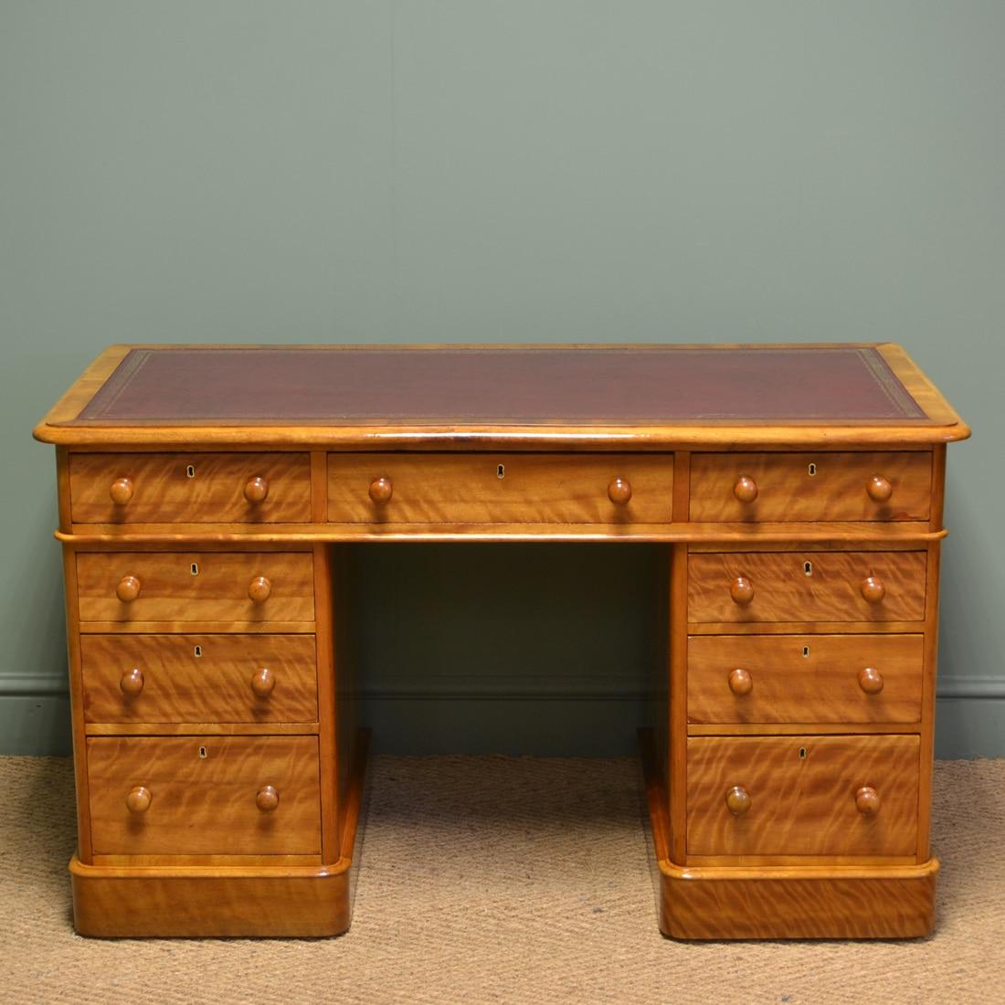 Spectacular Quality Figured Satin Birch Victorian Antique Pedestal Desk