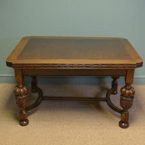 Quality Edwardian Pineapple Leg Antique Oak Extending Dining Table