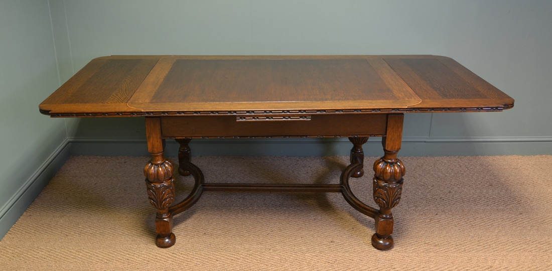 Quality Edwardian Pineapple Leg Antique Oak Extending  : 64696 from antiquesworld.co.uk size 1100 x 540 jpeg 445kB
