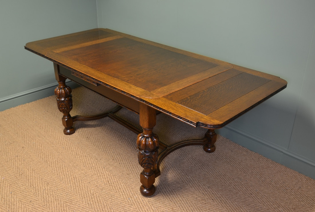 Quality edwardian pineapple leg antique oak extending dining table antiques world - Quality dining tables ...