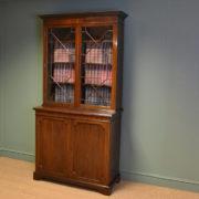 Superb Edwardian Astragal Glazed Mahogany Bookcase on Cupboard