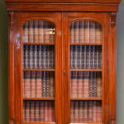 Stunning Victorian Figured Walnut Antique Glazed Bookcase on Cupboard