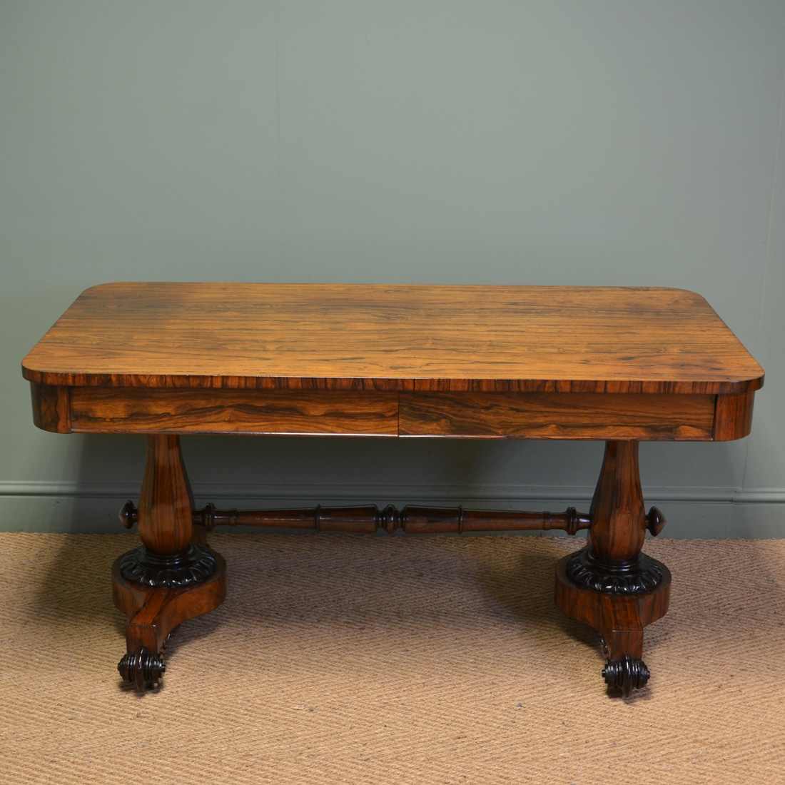 Spectacular Regency Rosewood Antique Partners Writing Table / Desk - Spectacular Regency Rosewood Antique Partners Writing Table / Desk
