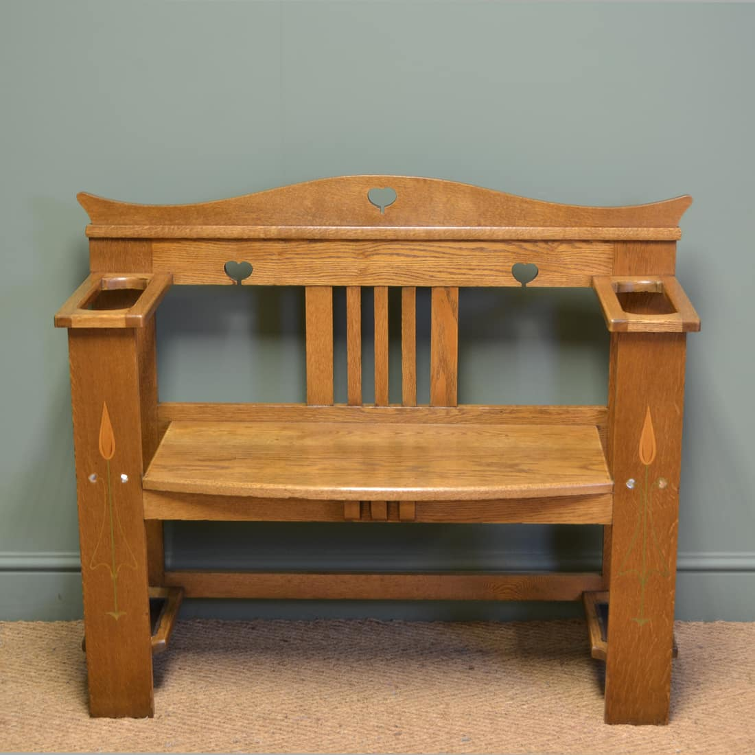 Arts and Crafts bench in Quartersawn White Oak