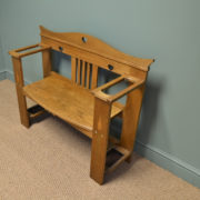 Spectacular Golden Oak Arts and Crafts Antique Hall Bench