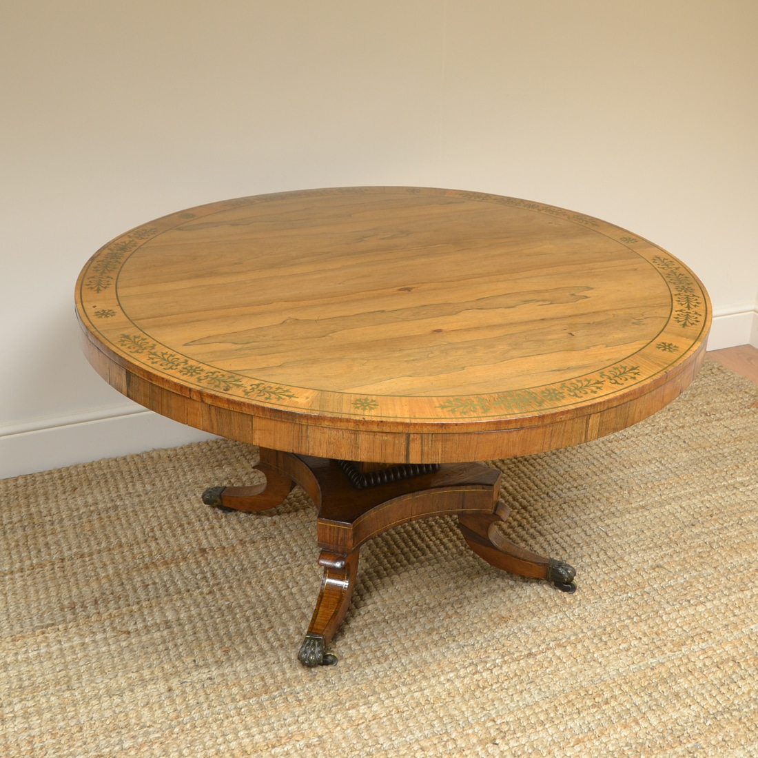 Spectacular Mellow Rosewood And Brass Inlaid Regency